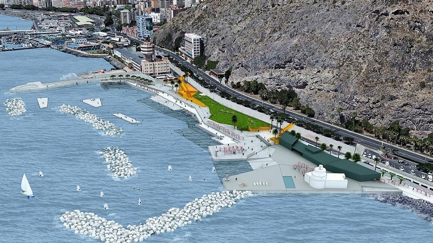 Infografía del proyecto 'Sol y Sombra' (zona de charcos), en el litoral de Valleseco, en la capital tinerfeña