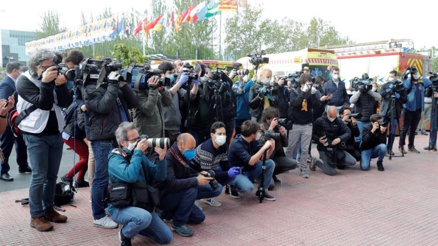 Periodistas, en un acto durante la pandemia