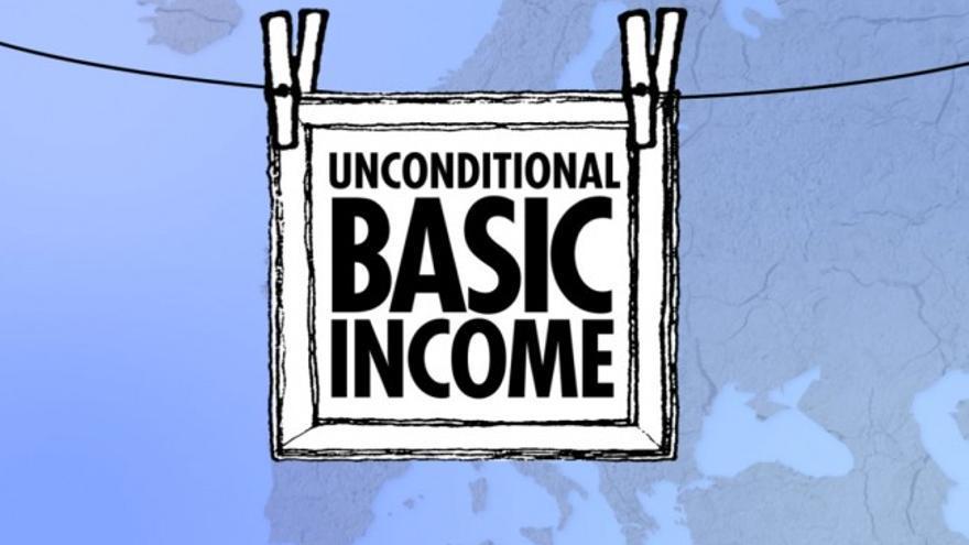 "Imagen de la campaña europea  ""Initiative for a Basic Income in Europe""."