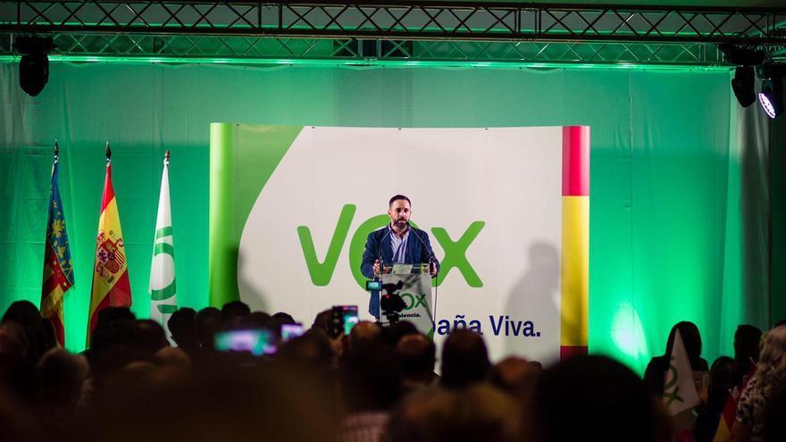 Santiago Abascal interviene en el acto organizado por Vox en Valencia