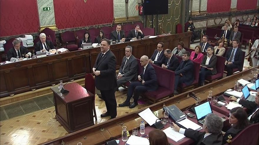 Oriol Junqueras, durante el juicio del procés en el Supremo
