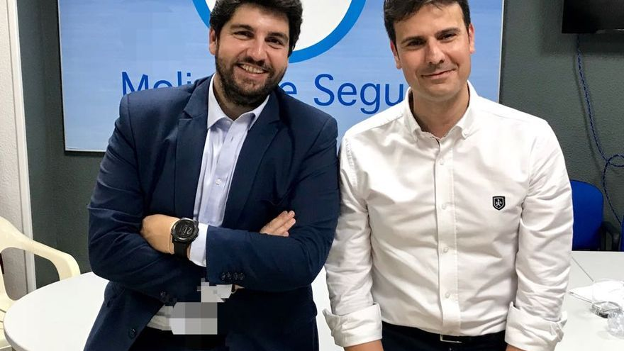 El candidato a la alcaldía de Molina de Segura, José Ángel Alfonso, con el presidente de Murcia, Fernando López Miras