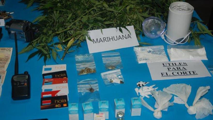 Marihuana y cocaína interceptadas en el operativo, que se investigaba desde el mes de abril.