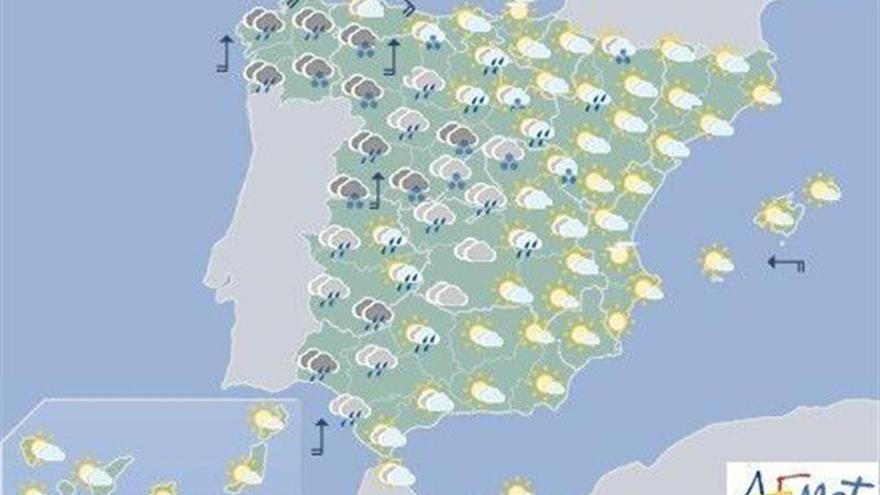 Hoy, lluvias en casi toda España y temperaturas al alza