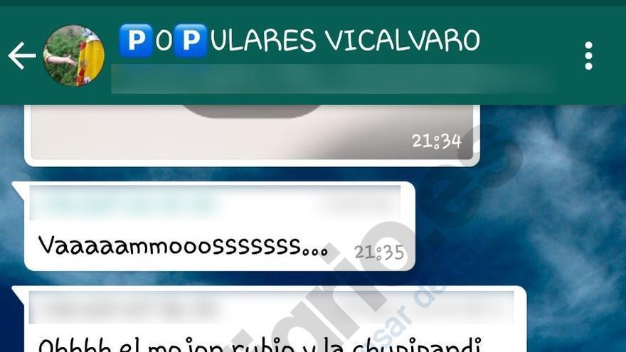 Pantallazo del grupo Populares de Vicálvaro con comentarios hechos el 12 de marzo