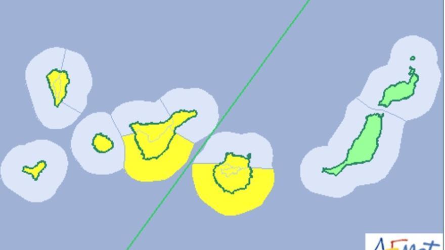 Mapa de la Aemet del aviso de riesgo por viento  paras este sábado,. 19 de agosto de 2017.