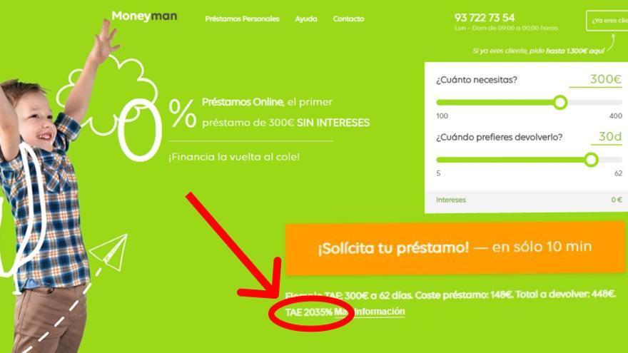 Préstamo de MoneyMan, marca de la empresa con sede en España ID Finance, a más del 2000% TAE