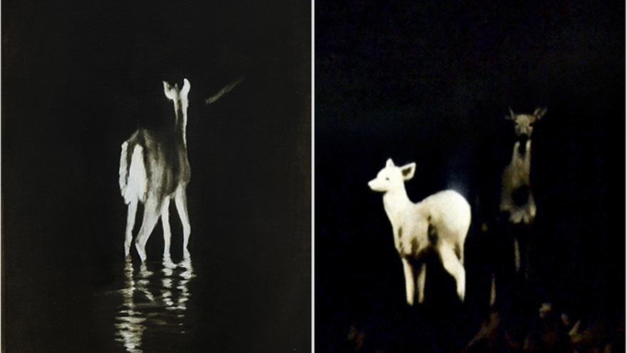 Obras de Sergio Pilán que ilustran la portada (derecha) y la contraportada (izquierda) de 'Naciendo en otra especie', antología de poesía Capital Animal.