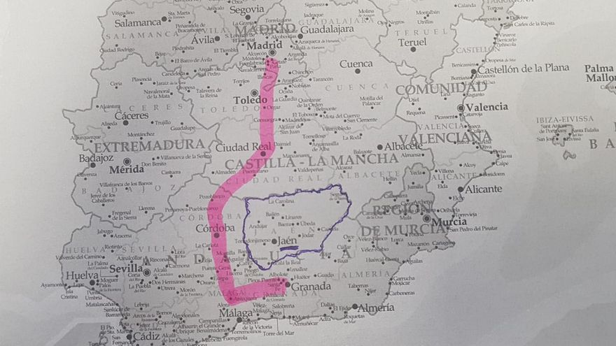 Imagen distribuida por 'Jaén Merece Más' para denunciar el aislamiento ferroviario que padece la provincia
