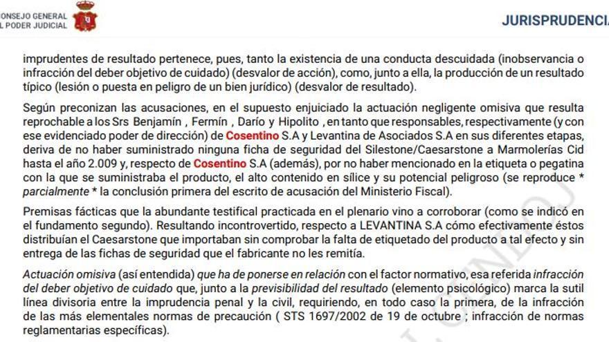Sentencia que recoge la responsabilidad subsidaria de Cosentino.