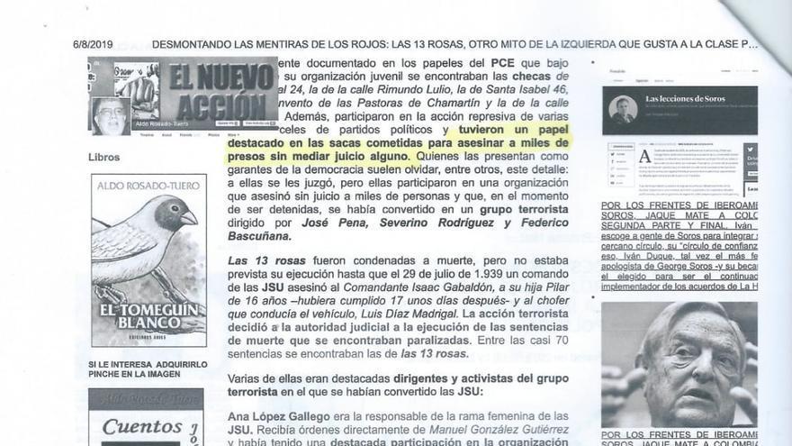 """En la denuncia se adjuntan los artículos en los que se califica a 'Las 13 rosas' como """"asesinas"""" y """"terroristas"""