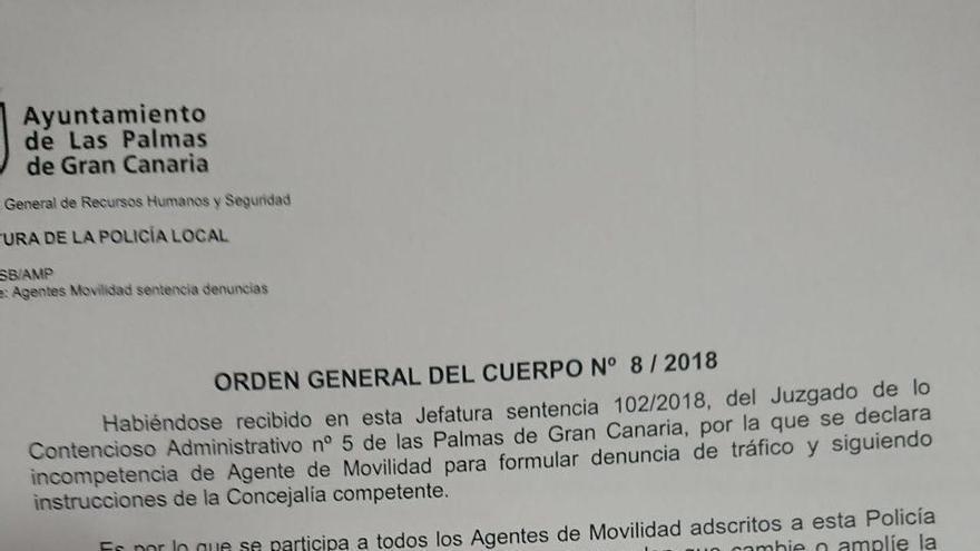 Orden emitida este lunes por el comisario jefe de la Policía Local de Las Palmas de Gran Canaria.