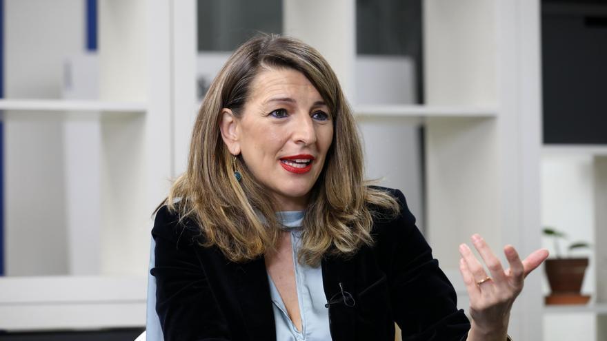 Yolanda Díaz, en un momento de la entrevista con eldiario.es.