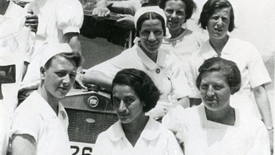 Enfermeras belgas y holandesas en el Hospital Militar de Onteniente en 1938