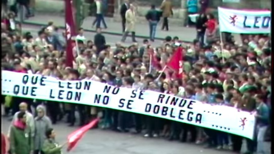 Manifestación para pedir Leon sin Castilla en los años ochenta.