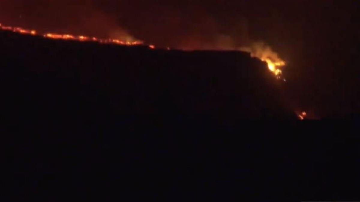 Entrada de la lava en el litoral de Tazacorte.