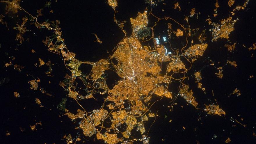 Madrid desde la estación espacial.