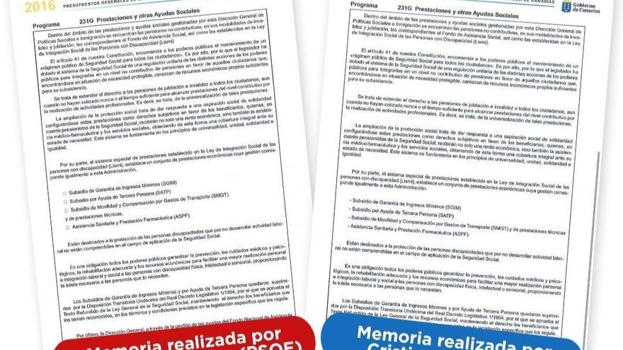 Comparación facilitada por Podemos Canarias de las memorias presupuestarias de la etapa de Patricia Hernández (izquierda) y de Cristina Valido (derecha)
