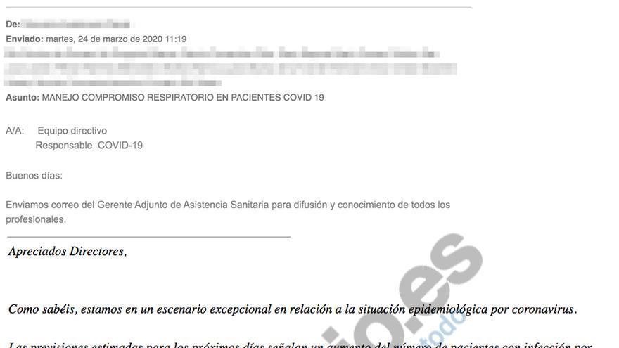 Correo electrónico para los profesionales de Atención Primaria sobre el traslado de personas mayores a hospitales durante la pandemia