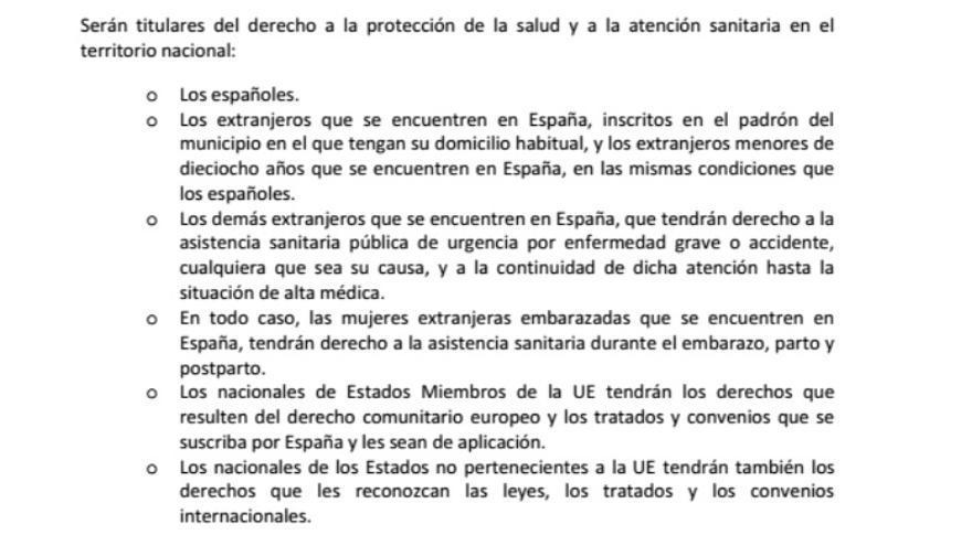 Extracto del acuerdo de PSOE y Ciudadanos sobre la titularidad del derecho a la salud.
