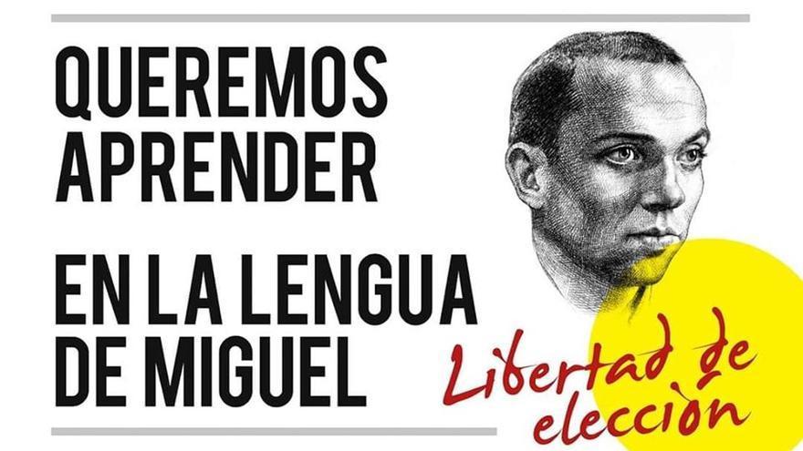 Imagen de la campaña contra la enseñanza en valenciano.