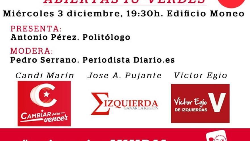 Cartel del debate entre los candidatos de las primarias de IU-V en la Región de Murcia