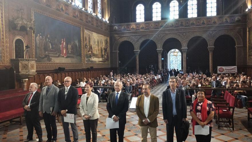Todos los rectores de las universidades públicas, en un acto público en el paraninfo de la UB para reclamar una mejora en la financiación