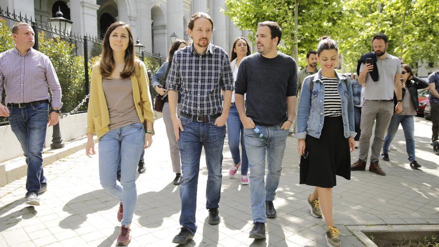 Pablo Iglesias y Alberto Garzón en la manifestación del Primero de Mayo