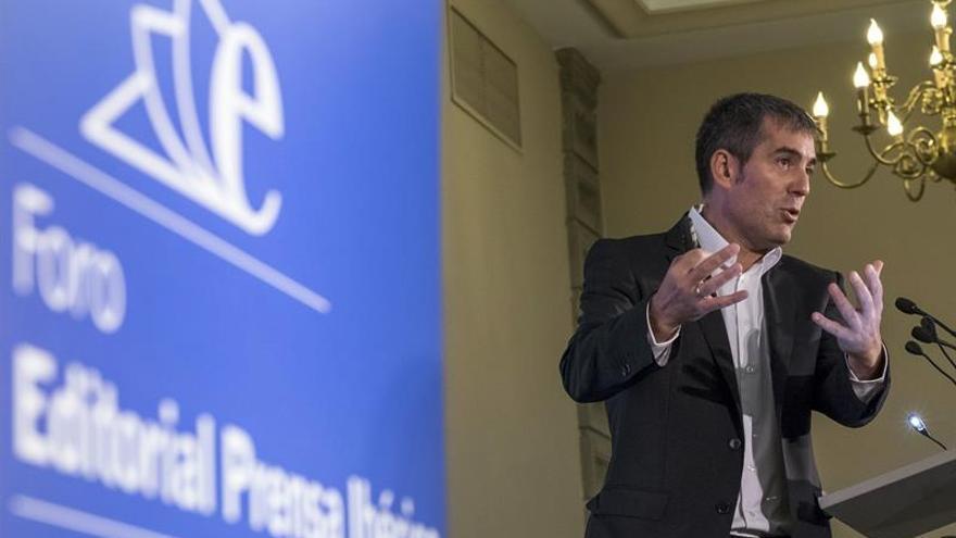 El presidente del Gobierno de Canarias, Fernando Clavijo, analizó hoy la situación política en un foro informativo.