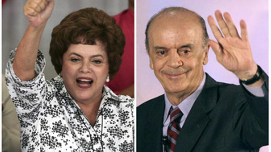 Dilma Rousseff y José Serra aspirantes a la presidencia brasileña
