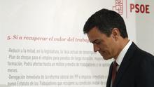 Pedro Sánchez en un acto del PSOE