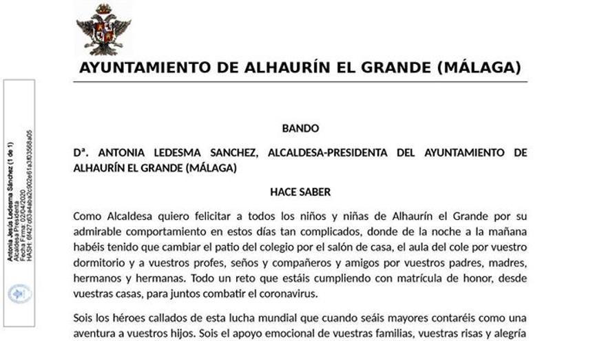 Bando municipal de la alcaldesa infantil de Alhaurín el Grande (Málaga)