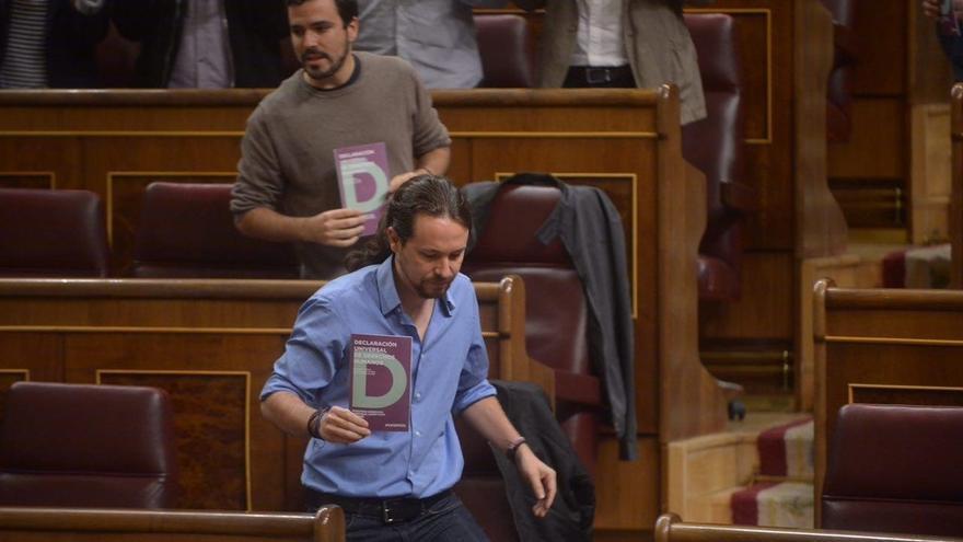 Pablo Iglesias y Alberto Garzón, en el Congreso.