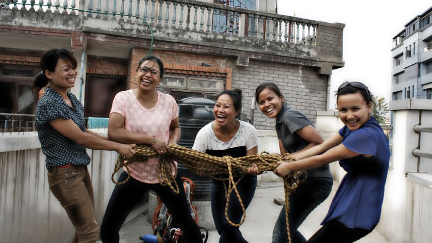 De izquierda a derecha: Nimdoma Sherpa, Chunu Momy, Maya Gurung, Asha Kumari y Shailee Basnet/ Fotografía: Rafa Gassó