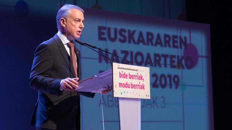 Iñigo Urkullu en el Palacio Euskalduna, en Bilbao, presidiendo el evento del Día Internacional del Euskera