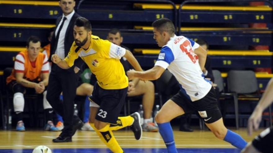 El Gran Canaria FS durante el encuentro frente al Hércules. (colegiosarenasgrancanaria.com).