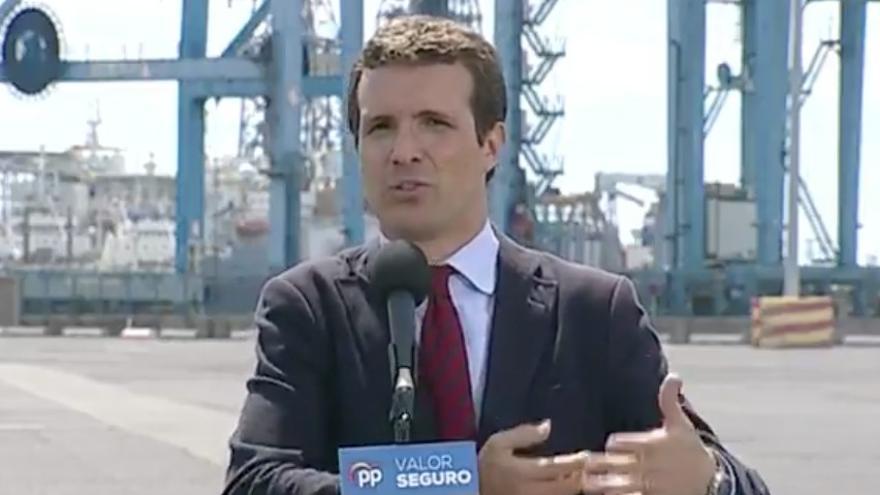 Pablo Casado, en un acto electoral en el puerto de La Luz y de Las Palmas