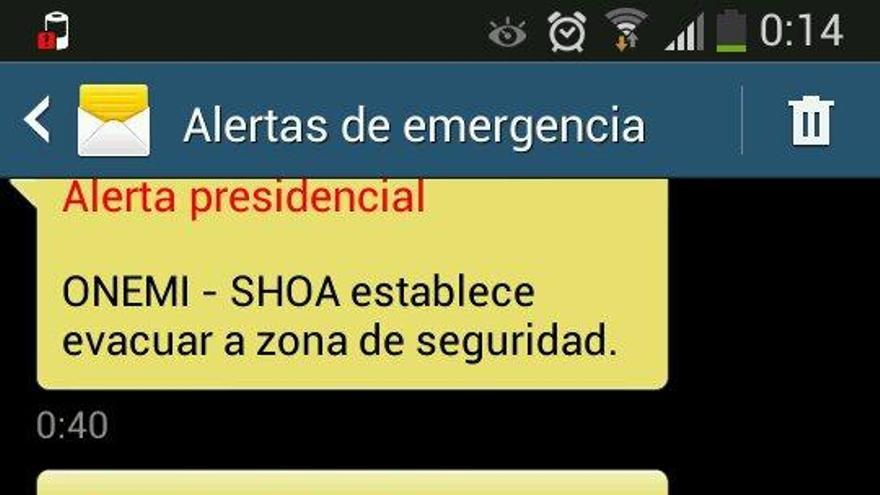 Avisos de la Onemi en teléfono móvil chileno. @1panchojimenez