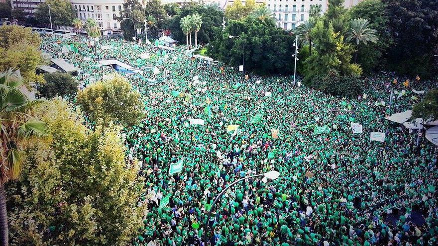 Manifestación de la Marea Verde en Palma de Mallorca.