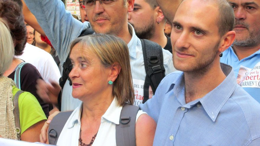 Carmen y Carlos en la manifestación celebrada este viernes en Granada