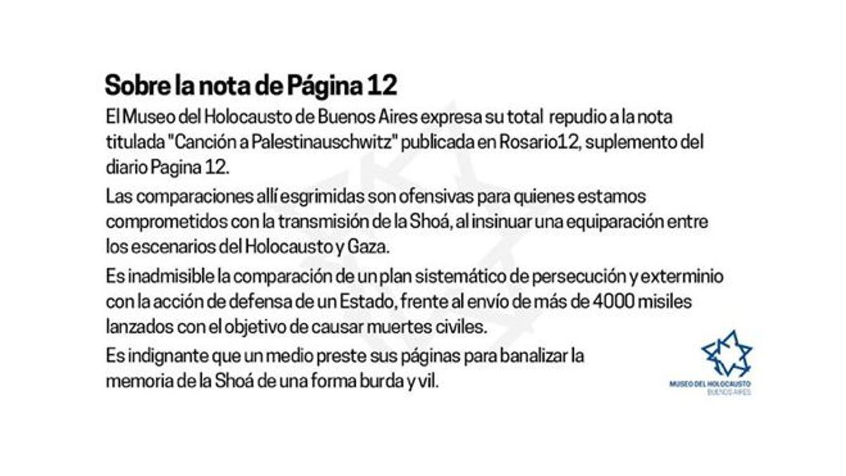 Museo del Holocausto expresó su repudio a una nota publicada en Rosario12