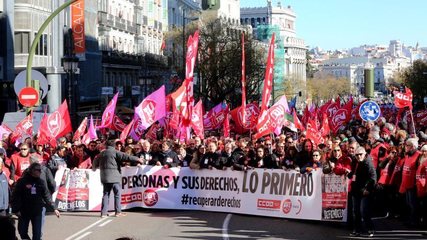 Manifestación por la recuperación de derechos laborales en Madrid