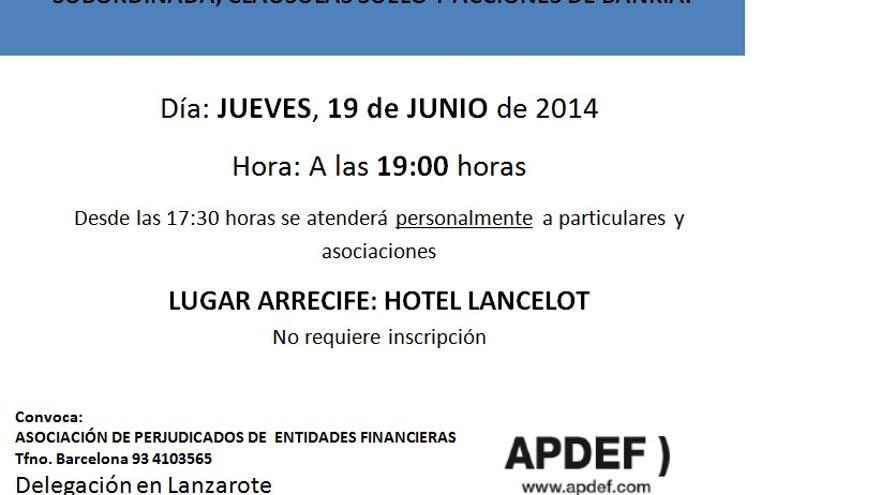 Cartel de la charla en Lanzarote para perjudicados de entidades financieras.