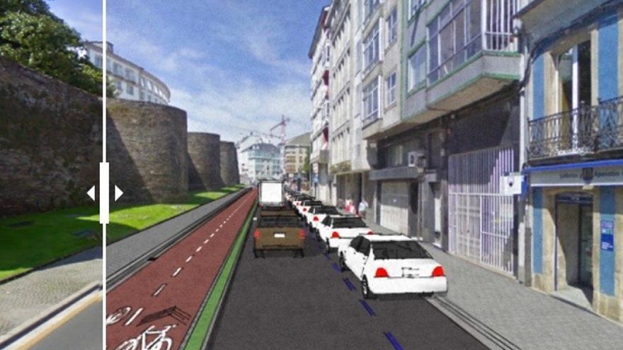 Simulación de implantación de las vías ciclistas en una calle de Lugo