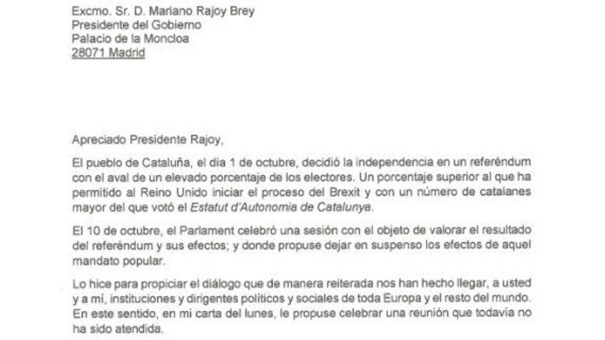 La carta respuesta de Puigdemont a la petición de Rajoy