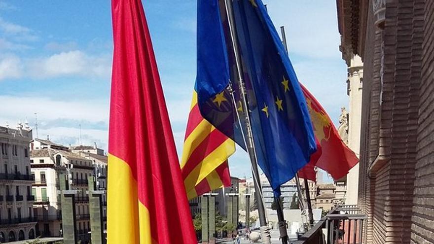 Balcón del Ayuntamiento de Zaragoza.