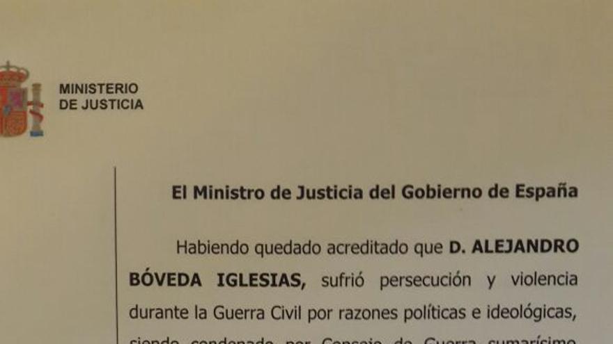 Documento que acredita la reparación de Bóveda, dictado el pasado 14 de julio