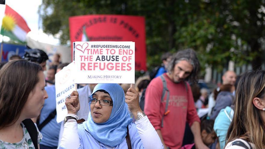 Manifestación por los derechos de los refugiados en UK/ Foto: Ilias Bartolini