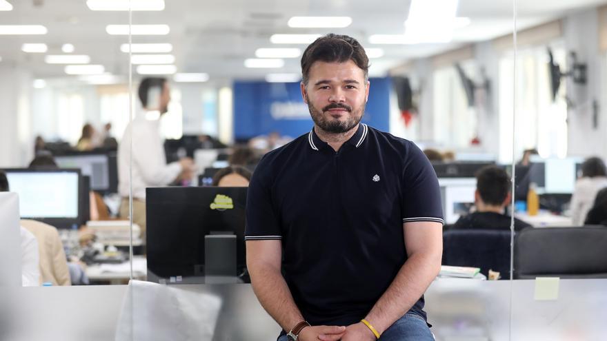 Gabriel Rufián, portavoz de ERC en el Congreso de los Diputados, en la redacción de eldiario.es.