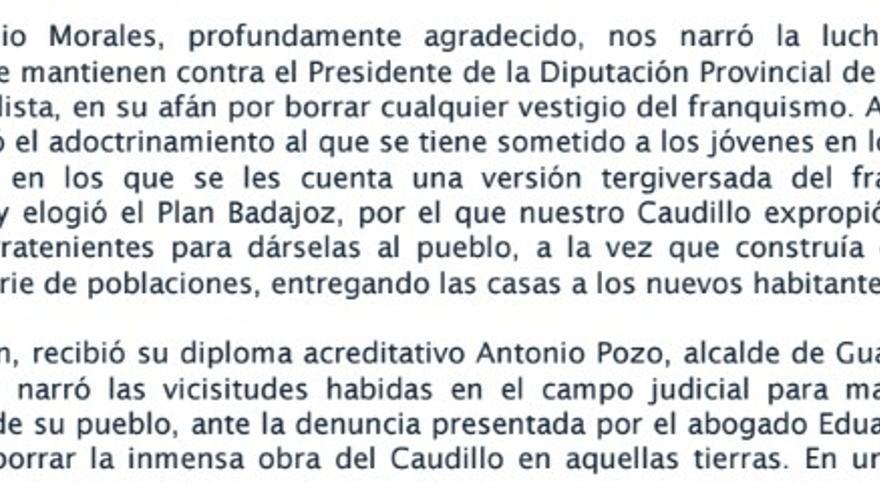 Extracto de la crónica de la Fundación Francisco Franco que ha desaparecido, y que hacía alusión a los dos dirigentes del PP de Extremadura